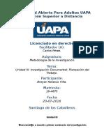 Tarea 3 Unidad III Metodología de Investigacion (UAPA) 18-07-2016