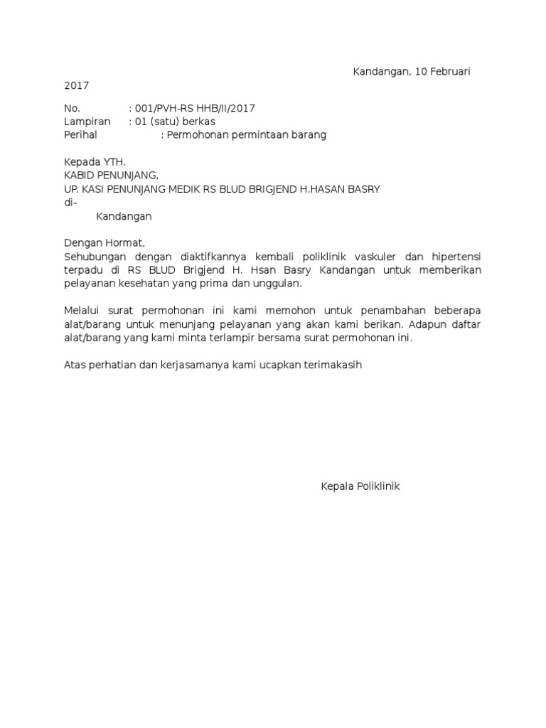 contoh Surat Permintaan Barang