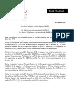 Results Press Release for December 31, 2016 [Result]