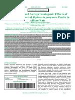 Antifertility and Antispermatogenic Effects of Ethanolic Extract of Tephrosia purpurea Fruits in Albino Rats