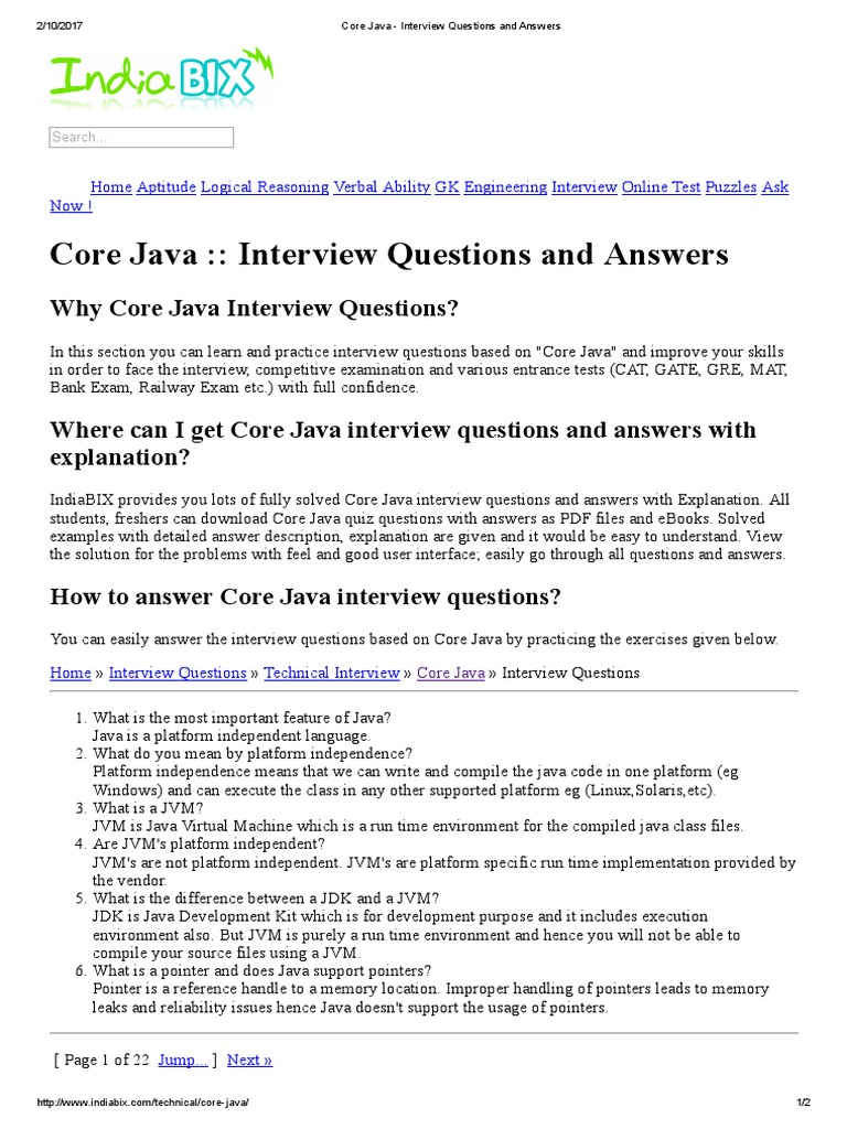 Core java interview questions and answers java platform core java interview questions and answers java platform operating system technology baditri Gallery