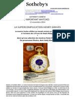 Patek Philippe - Henry Graves pocket watch (No. 198385)