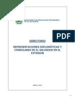 Directorio de Representaciones Diplomaticas y Consulares de El Salvador.abril 2015