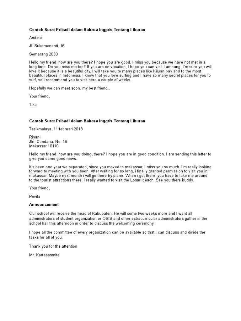 35++ Contoh surat bahasa inggris holiday terbaru terbaru