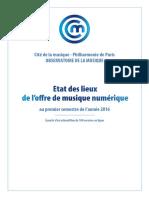 État des lieux de l'offre de musique numérique au premier semestre 2016