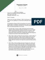 Risposta del Segretario all'Energia degli Stati Uniti, Steven Chu, a Ernest Sternglass sui danni del nucleare a basse dosi