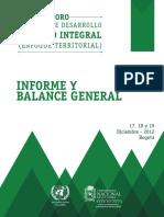 Informe y Balance General