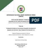 Tesis Propuesta de Mejora en Los Procesos de Gestión de Almacén de Despacho de Mercancía Caso Empresa Font Gamundi