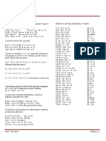 - InF 111- Exercícios - Equação Do 2º Grau