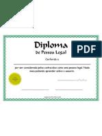 Diploma de Pessoa Legal Certificado Pronto sem preencher