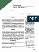 Reflexiones Sobre La Relacion Medico Paciente