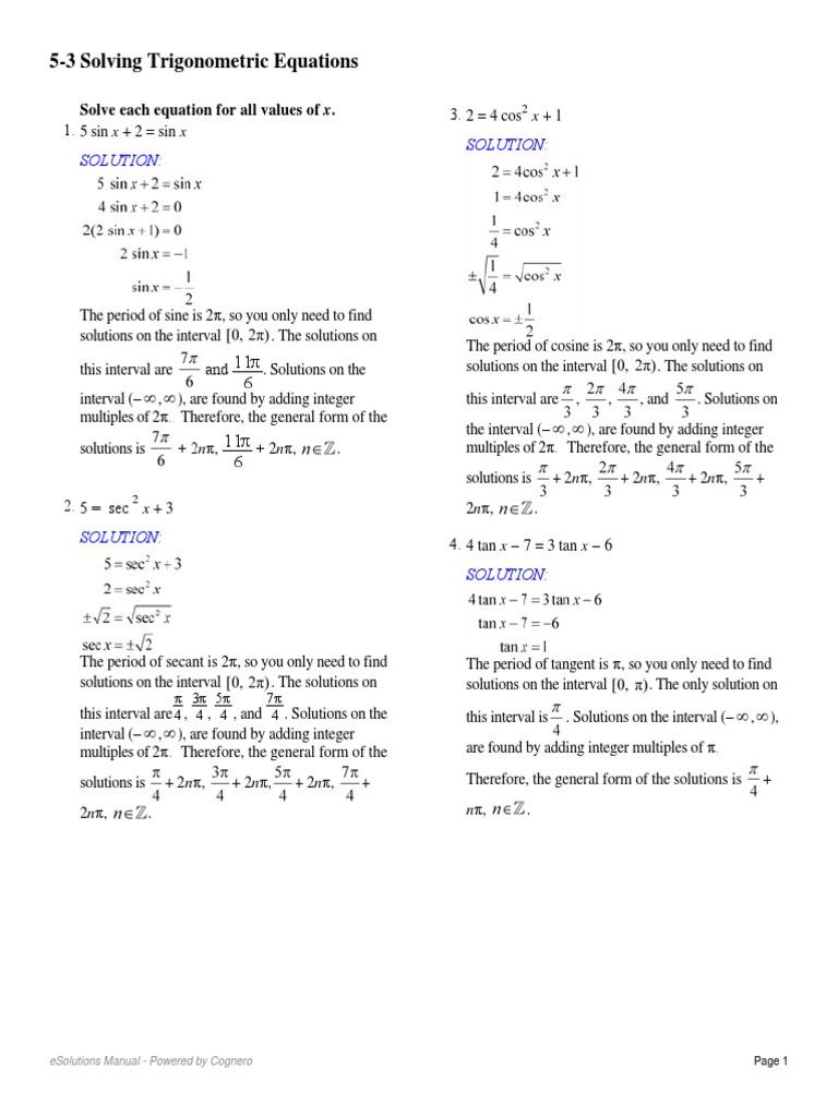 Worksheets Solving Trigonometric Equations Worksheet 5 3 solving trigonometric equations pdf functions sine