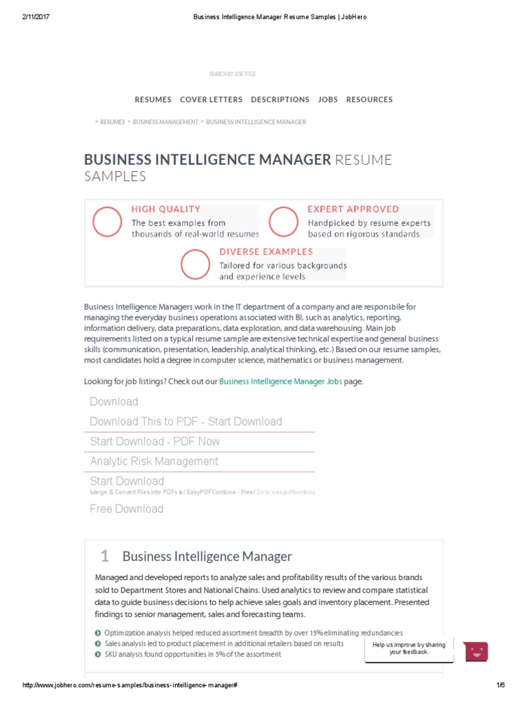 business intelligence manager resume samples _ jobhero business intelligence customer relationship management