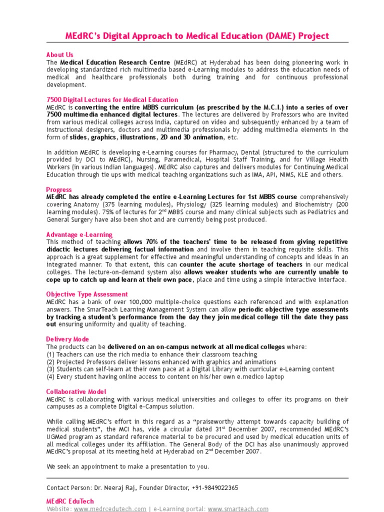 MEdRC - Standard One Page Note | Medical Education