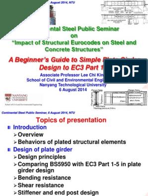 Plate Girder Steel Seminar pdf   Buckling   Structural Steel