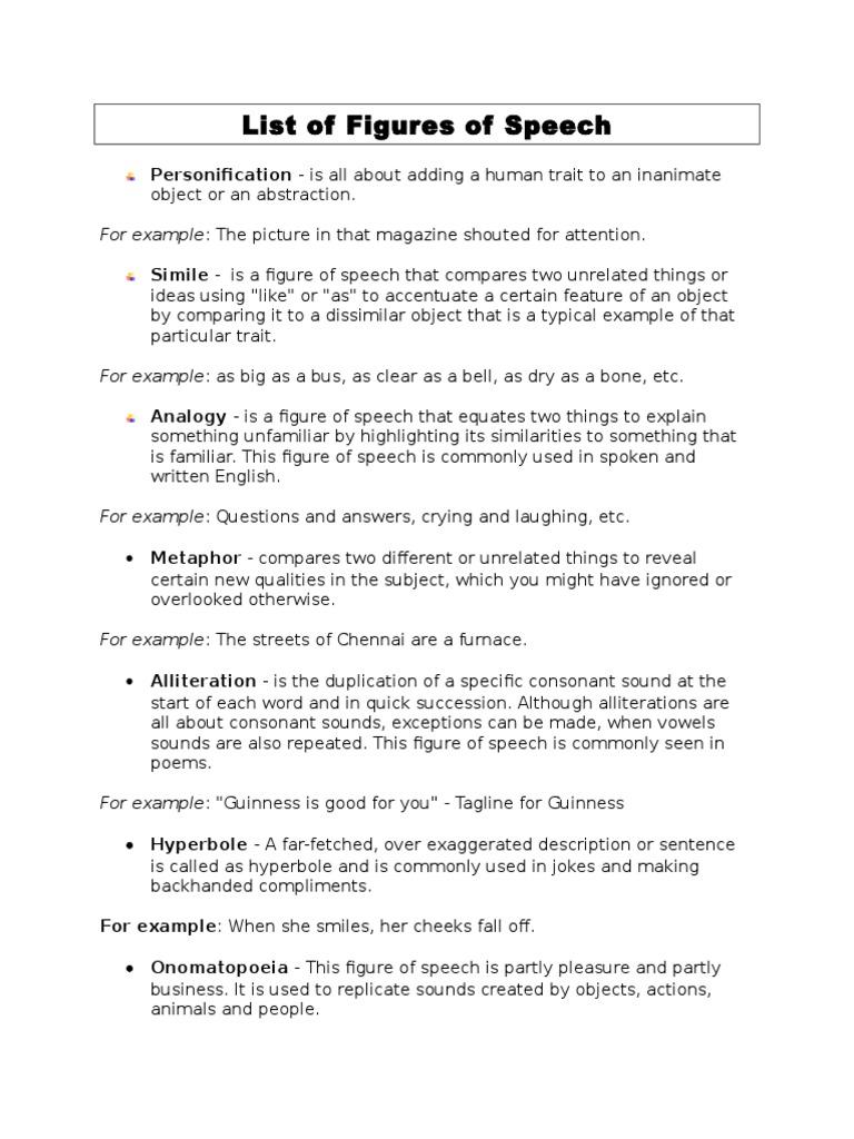 List Of Figures Of Speech Idiom Sentence Linguistics