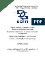Articulos Del Codigo Civil Del D.F y Articulos de La Ley Vigente de Hacienda