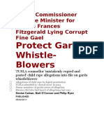 Garda Commissioner and the Minister for Justice Frances Fitzgerald  is Lying Corrupt Fine Gael Protect Garda Whistle-Blowers