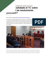 Qué Ha Señalado El TC Sobre El Control de Resoluciones Judiciales