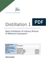 Batch Distillation Laboratory Report