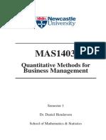 Quantitative Methods for Business Management