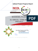 EWB-Wits Biodiesel Progress Report (in Partnership With Oricol Environmental Services and Free State Projects Co-op. Ltd)