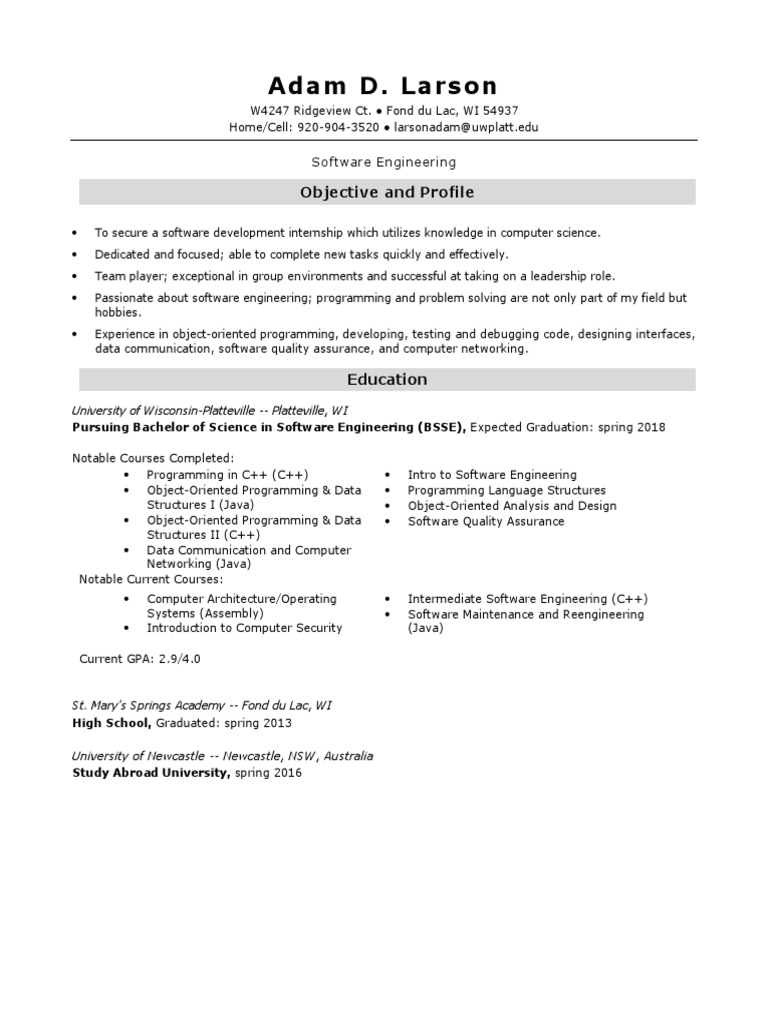 Adam Larson Software Engineer Resume Object Oriented Programming Computer Programming