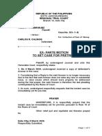 Exparte Motion to Set for Pretrial