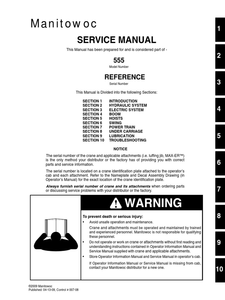 555 Service Manual   Crane (Machine)   Calition on
