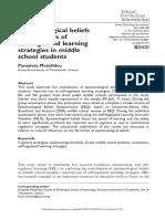 Epistemological Beliefs vs Self-regulated Learning Strategies