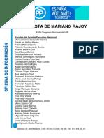 Lista de Mariano Rajoy para la cúpula del PP