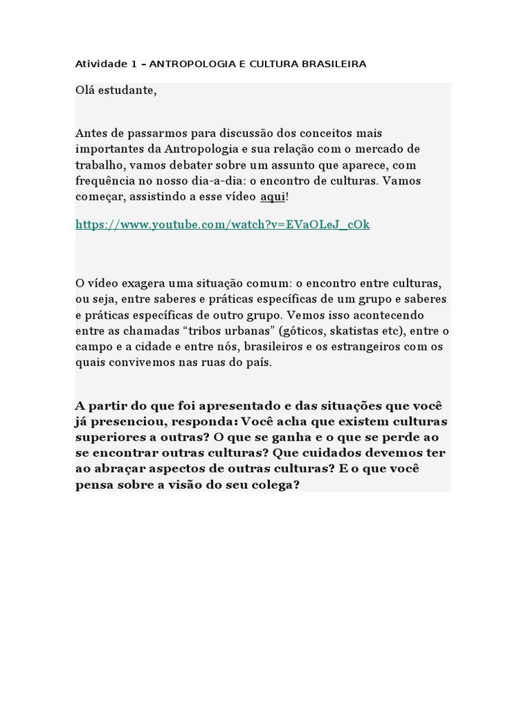 74aeb76e57 Atividade 1 - antropologia e cultura brasileira