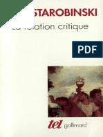 Starobinski Jean - La Relation Critique