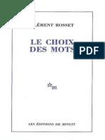 Le Choix Des Mots - Clément Rosset