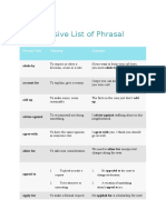 An Extensive List of Phrasal Verbs