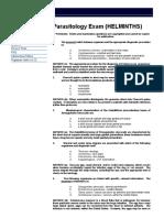 Parasitology Exam (HELMINTHS)