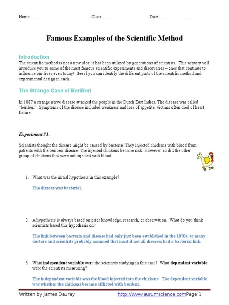 Uncategorized Scientific Method Worksheet Pdf 126256417 famous examples of the scientific method worksheet answer key mold experiment