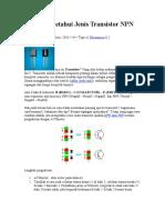 Cara Mengetahui Jenis Transistor NPN Atau PNP