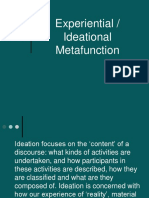 Experiential Metafunction Lecture 2007