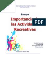 Importancia de Las Actividades Recreativas | Ensayo