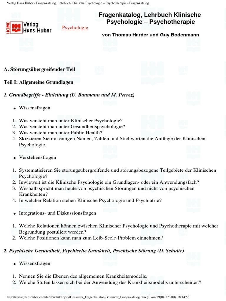 Verlag Hans Huber - Fragenkatalog, Lehrbuch Klinische Psychologie ...