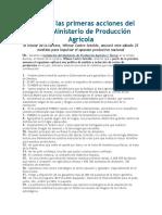 Lea Aquí Las Primeras Acciones Del Nuevo Ministerio de Producción Agrícola
