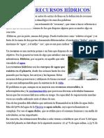 DEFINICIÓN DERECURSOS HÍDRICOS