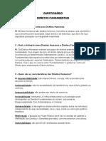 QUESTIONÁRIO - Direitos Fundamentais