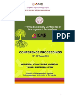 Abstract Proceeding - 1st Intradisciplinary Conference of Management Researcherrs - (1st ICMR 2016)