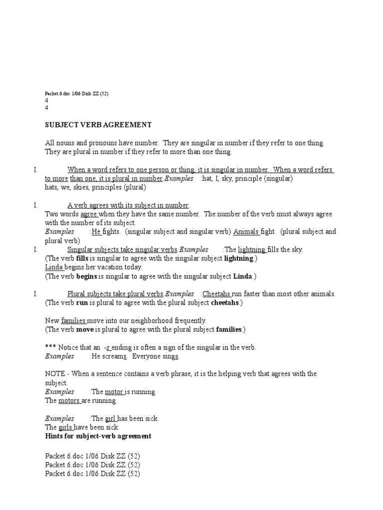 Subject Verb Agreement Exercisescx Grammatical Number Plural