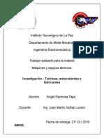 Investigacion - Turbinas; Antecedentes y Fabricantes