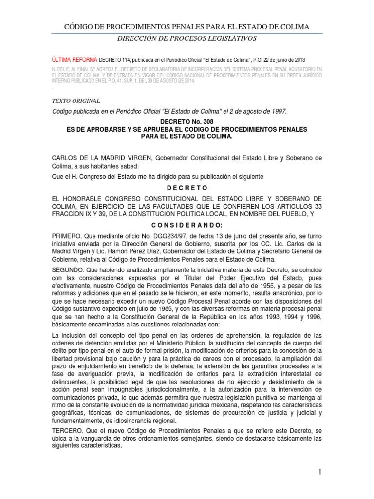 Codigo Procedimientos Penales 22jun2013