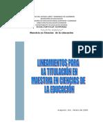 10 LINEAMIENTOS PARA LA TITULACIÓN EN LA MAESTRIA.doc