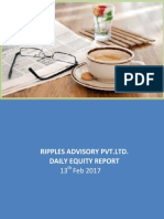 RIPPLES ADVISORY PVT.LTD. DAILY EQUITY REPORT 13 FEB. 2017